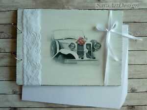 Wedding Guest Book Just Married. Rustic Wooden Advice or Photo Album.