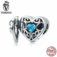 Voroco 925 Sterling Silver Unique Gift Boxes Charms Girls Frame Locket Pendant