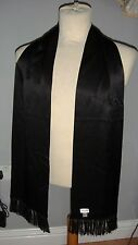 SAINT LAURENT PARIS by Hedi Slimane black silk scarf fringed / tassels scarves