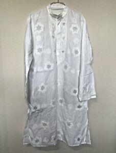 White Mens Kurta Cotton Chikankari lucknowi embroidery lightweight Desi Indian