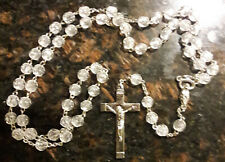 30 Inch Clear Faceted Bead Rosary mary Catholic pray prayer mysteries devotion