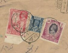 EGYPT-BURMA Rare British Occupation Stamps on Reg.Airmail Letter Send Cairo 1947