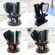 5 Pieces Women Hair Brush Massage Comb Holder Set Kit with Mirror & Stand