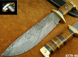 BEAUTIFUL 30CM HANDMADE DAMASCUS STEEL HUNTING BOWIE KNIFE W/SHEATH (4779-46