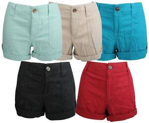 Ex-Store Ladies Linen Blend Turn Up Shorts