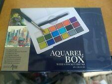 AQUAREL BOX WITH 1 POCKET  BRUSH/BOX IS 12X8 CM NEW