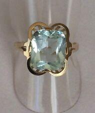 Antiker Ring mit großem Aquamarin Gold 585 14K Gr. 55 / 17,5 mm