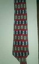 Roundtree Yorke 100% Silk Geometric Tie Red And Blue With Brown Accents T02