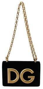 DOLCE & GABBANA Bag Purse DG GIRLS Clutch Black Velvet Leather Gold DG RRP $2200