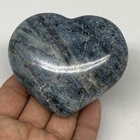 "220g, 2.6""x3""x1.1"" Natural Untreated Blue Quartz Heart Crystal Reiki, B6340"