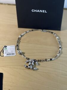 Authentic CHANEL  black amd white pearl necklace