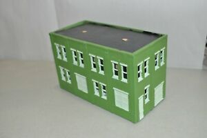HO scale building structure factory warehouse industry 2 story green