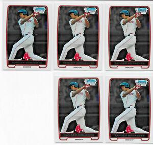 (5) CARD RC LOT 2012 BOWMAN CHROME XANDER BOGAERTS ROOKIE PROSPECT CARD #BCP105