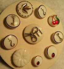 Vintage Variety of White Glass Buttons, 10 total, lady bugs, cherries, keys etc.