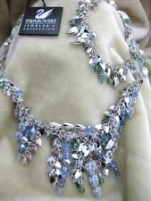 Swarovski Swan Signed Blue Fringe Necklace & Bracelet Set Jewelers Collection