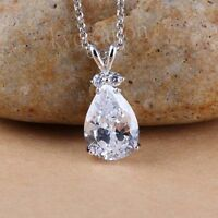 925 Sterling Silver 1.57 Ct Near White Pear Genuine Moissanite Beautiful Pendant