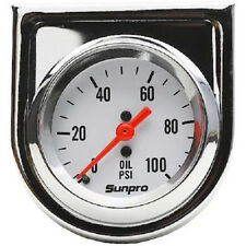 "Sunpro Analog StyleLine Mechanical Oil Pressure Gauge 2"" Dia White Face CP8206"