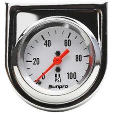 Sunpro Analog Styleline Mechanical Oil Pressure Gauge 2 Dia White Face Cp8206