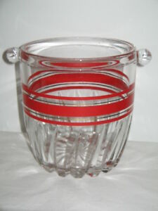 Circa 1960's Crystal/Cut Glass Sturdy Ice Bucket With Handles Red/Gold Trim 13cm