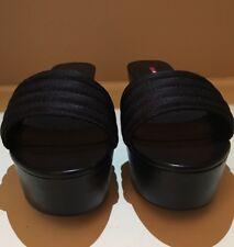 NWB Prada Wedge Black Sandals Size 9M