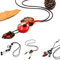 Fashion Ceramics Beads Pendant Ethnic Long Necklace Chain Jewelry Style NW x1