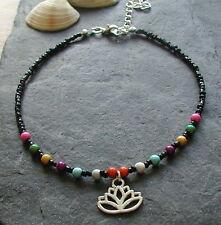 Black Beaded Chakra Lotus Flower Charm Anklet Bracelet Hippy Festival Boho