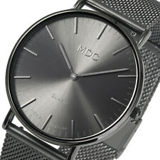 Reloj de Pulsera MDC para hombre Caballeros Cuarzo Analógico Malla de Malla de Acero Inoxidable Negro Clásico