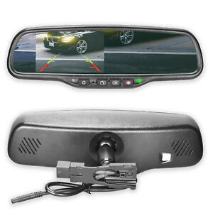 """Rearview Mirror Universal Fit with 4.3"""" Ultra Bright LCD and OnStar Buttons"""