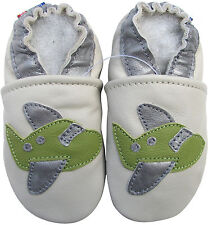 carozoo airplane cream 12-18m soft sole leather baby shoes