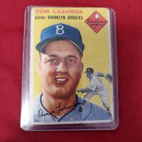 1954 Topps Tommy Lasorda Rookie Card #132 Brooklyn Dodgers