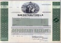 Sun Distributors L.P Stock Certificate Oil Gas Pipeline MLP