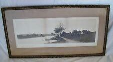 Farmhouse and Church by Water Landscape Etching Hand Signed Ernest Rost Antique