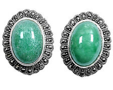 Marcasite Earrings with Jade Sterling Silver 925 Vintage Style Jewelry Gift