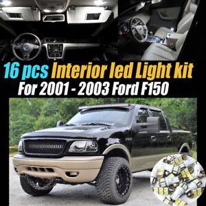 16Pc Super White Car Interior LED Light Bulb Kit Package for 2001-2003 Ford F150