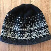 Lands' End Women's/ Teen Black/ Cream Fair Isle Snow/Ski Hat ONE-SIZE Winter Cap