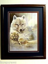 WOLF PICTURE PUPS SAFARI ANIMAL WHITE WOLF MATTED  FRAMED 16X20