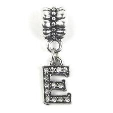 """""""E"""" Letter Dangle Charm Beads with Crystals for Snake Chain Charm Bracelet"""