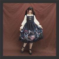 Vingage Harajuku Japanese Style Mori Girl Cute Cats Print Lolita Jsk Slip Dress