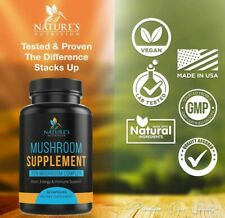 Mushroom Supplement with Lions Mane Reishi Chaga Maitake Daily Immune System 60c