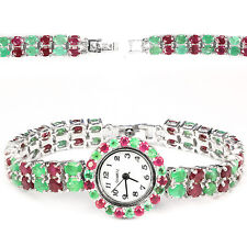 Sterling Silver 925 Genuine Natural Emerald & Pink Ruby Bracelet Watch 7.5 Inch