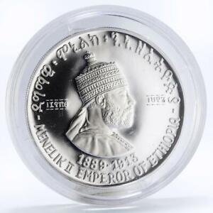 Ethiopia 5 dollars Emperor Menelik the Second proof silver coin 1972