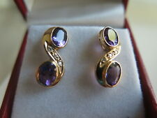 14K Yellow Gold Amethyst Diamond Earrings (#434)