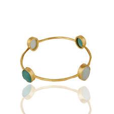Multi Gemstone Gold Plated Brass Handmade Bangle Bracelet Fashion Women Jewelry