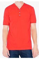American Apparel Fine Jersey S/S Henley Shirt Red Xl