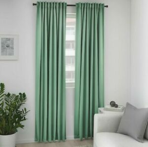 """Ikea Majgull Black Out Curtains Panels 1 Pair Green 57x98"""" New"""