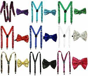Sequin Braces Bow Tie Men Women Elastic Y-Back Fancy Dress Party Gift Set Theme