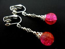 A PAIR OF TIBETAN SILVER PINK/ORANGE CRACKLE GLASS BEAD DANGLY CLIP ON EARRINGS.