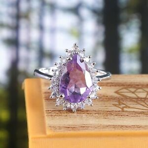 Natural Amethyst Ring Pear Halo Statement Art Deco Promise 925 Sterling Silver