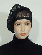 Sans crainte élégant lagenlook noir Broiderie anglaise dentelle vintage cocktail hat