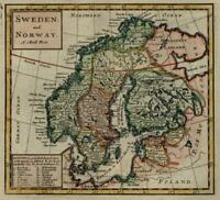 Scandinavia Sweden Norway Finland Gothia Lifland 1713 Moll miniature map lovely